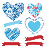 婚姻的浪漫汇集丝带,心脏,花 图表集合 库存照片