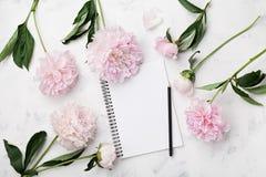 婚姻的计划、铅笔和桃红色牡丹的空的笔记本在舱内甲板位置样式的白色石台式视图开花 库存图片