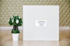 婚姻的象册的箱子与皮革盖子和金属盾 免版税库存照片