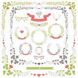 婚姻的集合减速火箭的花卉项目 使用向量的设计好的零件stiker模板您 库存照片