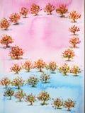 婚姻的,情人节,水彩油漆可爱的树庭院 库存图片