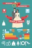 婚姻的infographic集合 新娘仪式教会新郎婚礼 库存图片