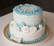 婚姻蛋糕的玫瑰 库存图片