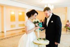 婚姻eremony :美丽的新娘投入婚戒给新郎 免版税库存图片