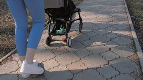 婴儿推车在公园漫步 股票视频