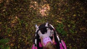 婴儿推车的女孩 顶视图 影视素材