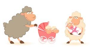 婴儿车杂文绵羊 皇族释放例证
