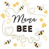 婴儿送礼会与文本Bee Cute妈妈卡片设计的邀请模板母亲节蜂心脏蜂蜂房的 向量例证