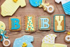 婴儿送礼会曲奇饼 免版税库存图片