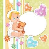 婴儿送礼会看板卡 库存照片