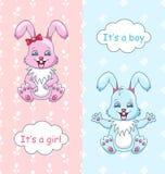 婴儿送礼会祝贺卡片用兔子男孩和女孩,愉快的孩子 库存例证