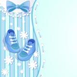 婴儿送礼会蓝色看板卡 免版税库存图片