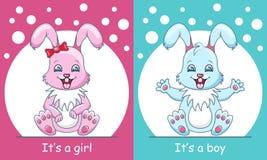 婴儿送礼会贺卡用兔子男孩和女孩,微笑的孩子 向量例证