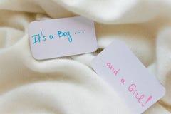 婴儿送礼会`它` s男孩 并且女孩`,在舒适温暖的白色毯子的公告卡片有文本的空间的 库存照片