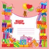 婴孩与玩具熊的生日贺卡 免版税库存照片