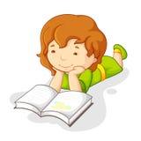 婴孩书女孩读取 皇族释放例证