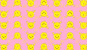 婴孩供应的样式黄色贪心背景桃红色平的设计 向量例证