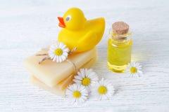 婴孩关心产品、肥皂酒吧、按摩油和新鲜的春黄菊花 免版税库存图片
