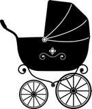 婴孩剪影婴儿推车 库存图片
