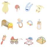 婴孩动画片要素图标 免版税图库摄影