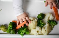 婴孩吃菜 免版税库存照片