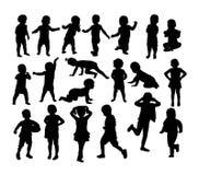 婴孩和儿童剪影,艺术传染媒介设计 图库摄影