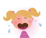 婴孩哭泣的女孩 向量例证