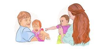 婴孩哭泣 对看见医生的恐惧 向量例证