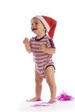 婴孩圣诞老人微笑 免版税库存照片