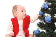 婴孩圣诞节女孩结构树 免版税库存图片