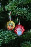 婴孩圣诞节装饰结构树 图库摄影