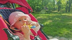 婴孩在一辆婴儿推车的` s骑马在公园 图库摄影