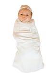 婴孩在白色的背景尿布 免版税库存图片