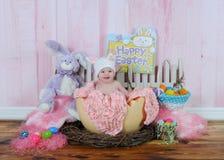 婴孩复活节彩蛋女孩甜点 免版税库存照片