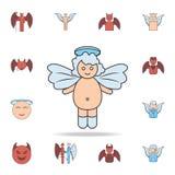 婴孩天使彩色场概述象 详细的套天使和邪魔象 优质图形设计 其中一个汇集象 皇族释放例证