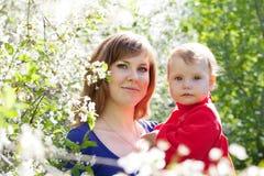婴孩开花的庭院母亲 库存图片