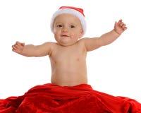 婴孩愉快的圣诞老人 图库摄影