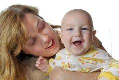 婴孩愉快的妈妈 图库摄影