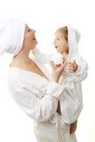 婴孩愉快的母亲照片 图库摄影