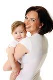 婴孩愉快的母亲照片 免版税库存图片