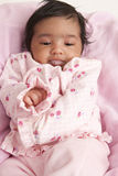 婴孩打嗝的女孩新出生的纵向 库存图片