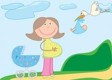 婴孩摇篮车怀孕的鹳 免版税图库摄影
