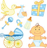 婴孩新出生的逗人喜爱的要素的图象 免版税图库摄影