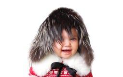 婴孩时尚被隔绝的裘皮帽 免版税图库摄影