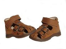 婴孩棕色s鞋子 免版税图库摄影