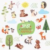 婴孩森林动物设计集合 免版税库存照片