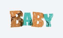 婴孩概念被盖印的词艺术例证 免版税库存图片