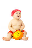 婴孩海滩逗人喜爱的准备好的季节 免版税图库摄影