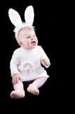 婴孩滑稽兔宝宝的服装 免版税库存图片