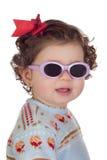 婴孩滑稽的女孩太阳镜 免版税库存照片